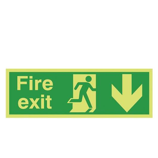 Picture of Photoluminescent Fire Exit Down Arrow Sign