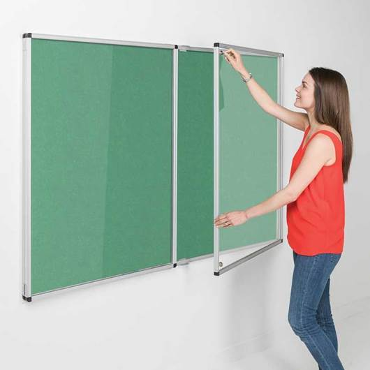 Picture of Eco-Colour® Fire Retardant Tamperproof Lockable Double Door Noticeboards